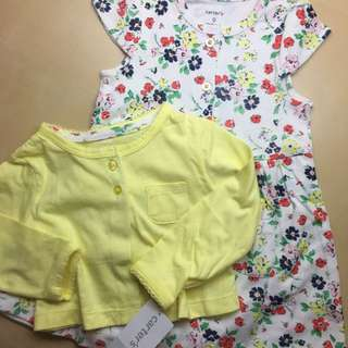 Carter's黃色外套短袖花卉洋裝兩件組👶🏻