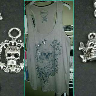 REDUCED- Ladies Size 10 skull Singlet