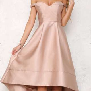 Champagne High low Off Shoulders Dress