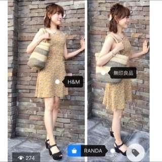 H&M黃色小碎花腰部簍空綁帶洋裝(特價)