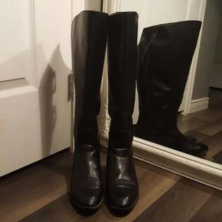 ZARA Tall Faux Leather Boots