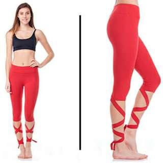 Red Jala Activewear Dancer Leggings In M