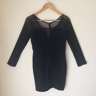 Maxim 'Black Long Sleeve Dress with Mesh Upper'