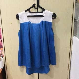White Blue Top