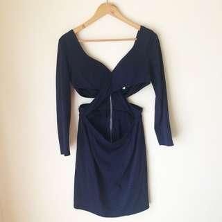 Maxim 'Navy Long Sleeve Cut Out Dress'