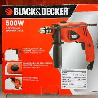 Black & Decker HD450 500W Hammer Drill (FREE DRILL BIT)