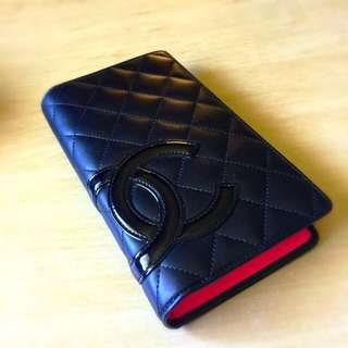 Chanel Black Cambon Long Wallet Pink Interior