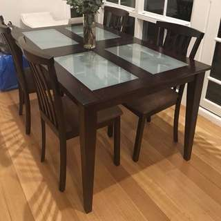 6 Seat Wooden Dining Table Chocolate Brown
