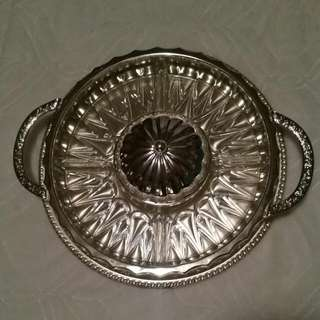 Vintage Crystal Serving Dish & Tray