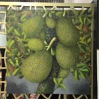 "Oil painting : Title ""Jackfruits"""