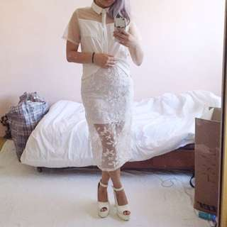 Missguided White Lace Midi Skirt