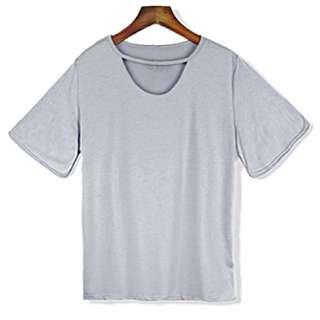 前胸鏤空素t 半袖上衣