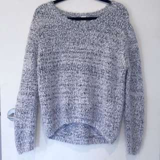 Vintage Looking Grey And White Jumper/cardigan
