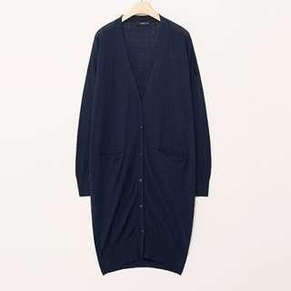 Pazzo 針織長版外套 薄款 藍色針織