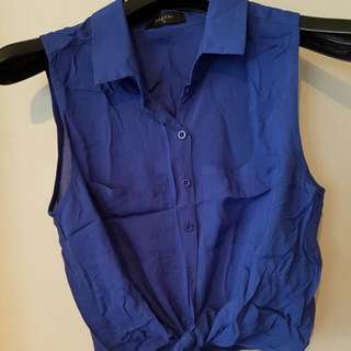 Pagani Blue Crop Tie Shirt Size 10