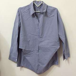 [免運]細直條紋抓皺襯衫👕