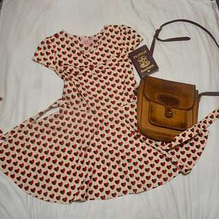 Genevieve Gozum Nude Dress with Black and Red Hearts