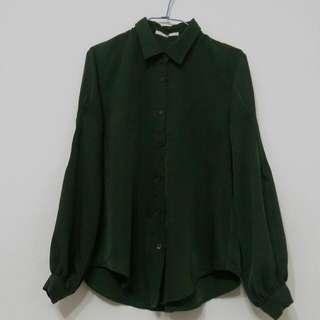 【全新】#nude_光澤深綠微寬袖襯衫