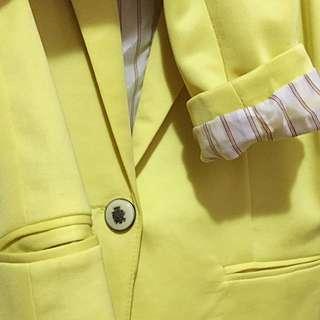 Canary Yellow Casual Blazer