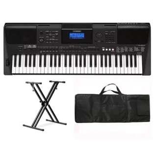 Yamaha PSRE453 61-Key Portable Keyboard with Double X Keyboard Stand and Keyboard Bag