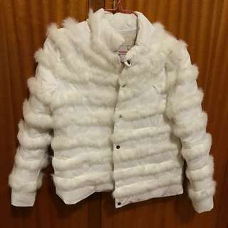 Winter Women Jacket Feathers White