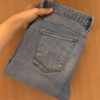 正韓 淺藍色 牛仔褲 窄管褲