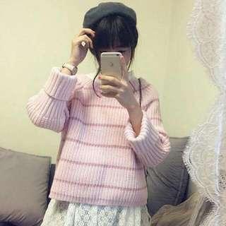 跳色 粉色 毛衣 針織衣 寬鬆上衣