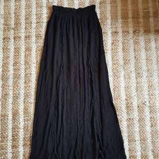 Black Double Split Boho Gypsy Skirt Xs Small