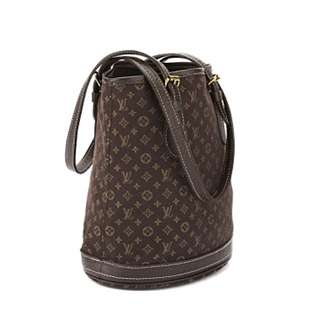Authentic Louis Vuitton Ebene Monogram Mini Lin Petit Bucket Bag
