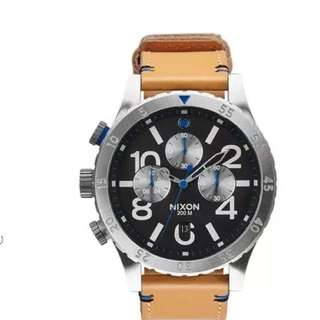 Nixon 48-20 Leather Chrono Watch
