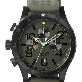 Nixon 48-20 Rubber & Leather Chrono Watch