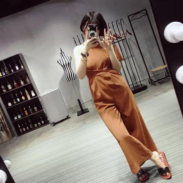 韓國復古露背連身寬褲