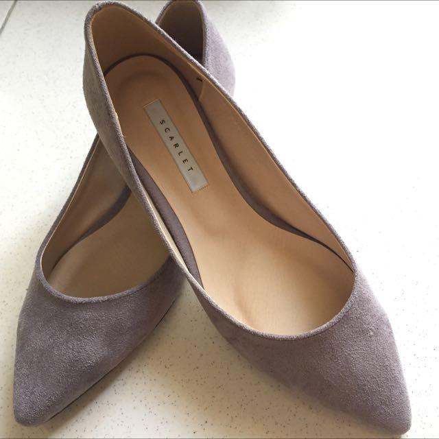 韓國麂皮尖頭平底鞋