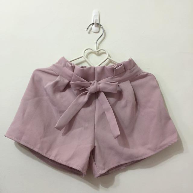[免運]粉色雪紡西裝綁帶短褲