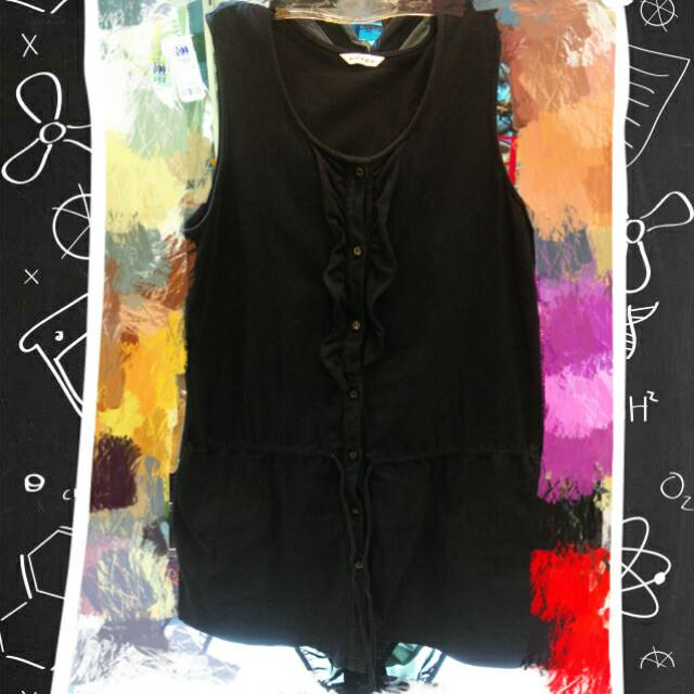 黑色無袖外搭長版衣