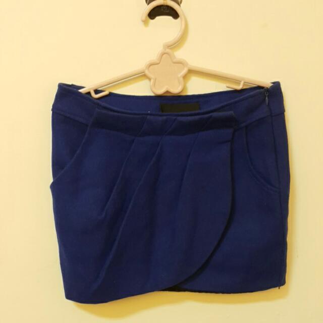 全新寶藍花苞裙