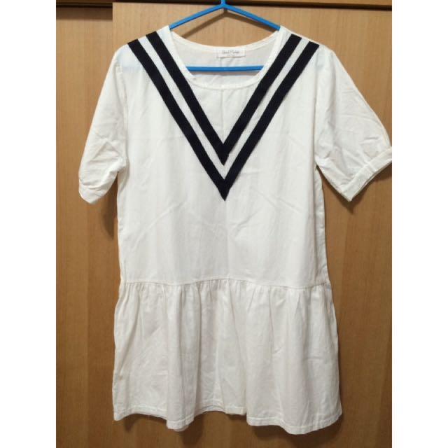 正韓 學院風短版洋裝