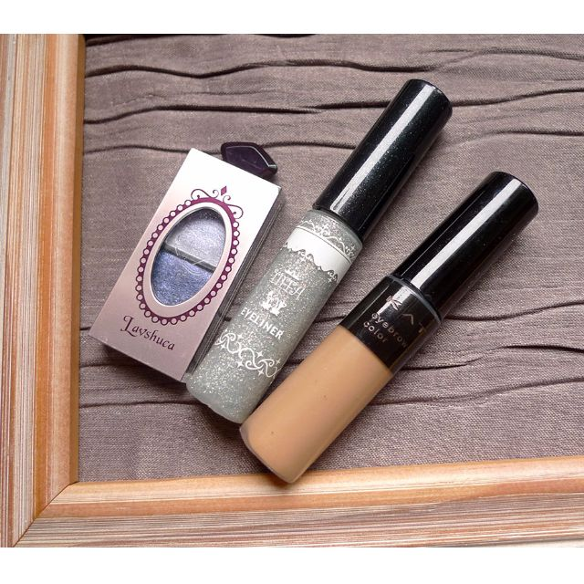 佳麗寶 KATE 時尚眉彩膏(BR-2)+Lavshuca 晶巧雙色眼影(BU-1)+TIFFA 炫亮眼線液(銀)