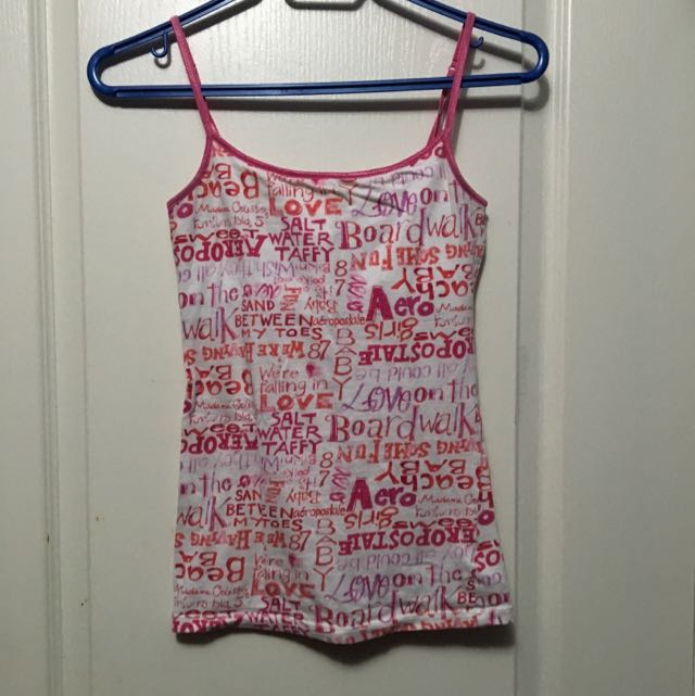 Aeropostale Pink And White Tank Top