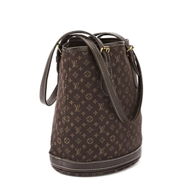 Authentic Louis Vuitton Ebene Monogram Mini Lin Petit Bucket Bag