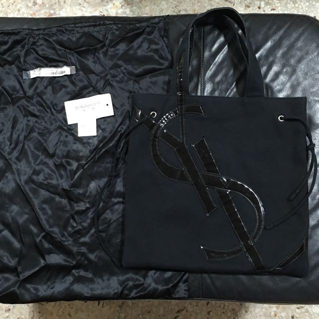 9ce380f19da64 Authentic YSL Yves Saint Laurent Kahala Tote Bag with Black Patent ...