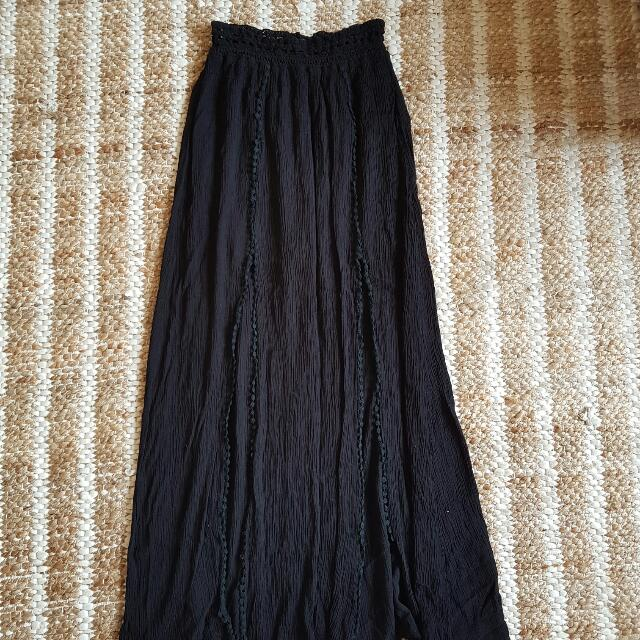 Black Double Split Boho Gypsy Skirt Xs Small