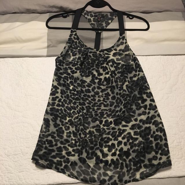 Black Leopard Print Top