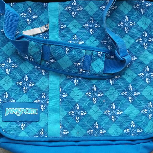 Blue Jansport Crossbody / Laptop Bag
