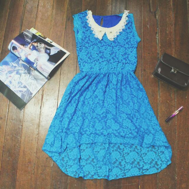 Blue Long Back Lace Dress [RESERVED]