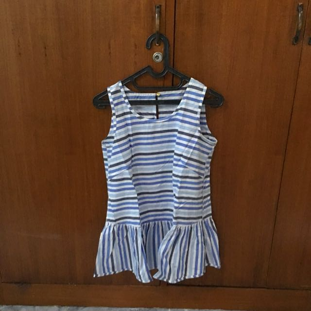 Cotton Ink Stripes Blue Top