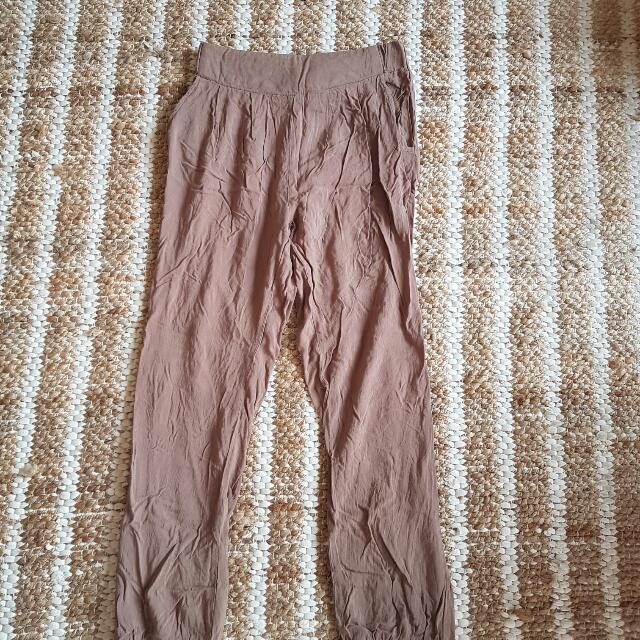 Cream Tan Slouch Pants 6 Need Iron Boho Casual
