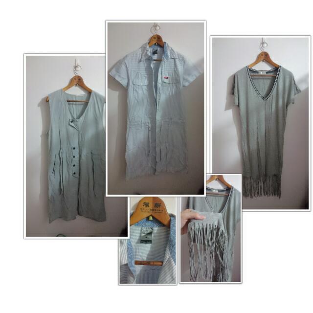 Edwin 淺藍洋裝+流蘇淺灰洋裝+森林系牛仔感洋裝