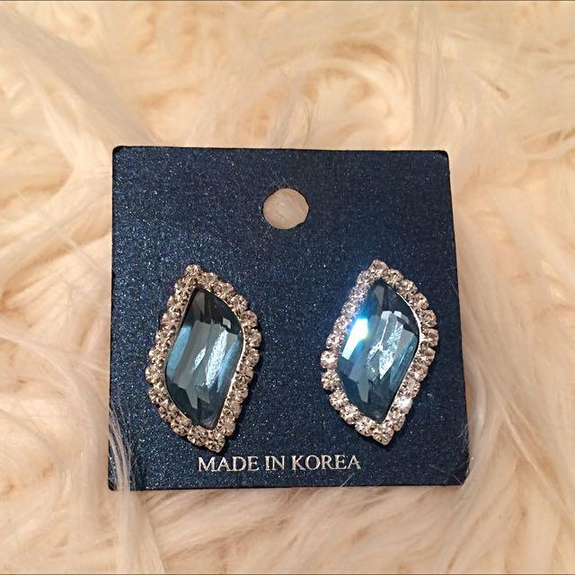 Light Blue Diamond Earrings