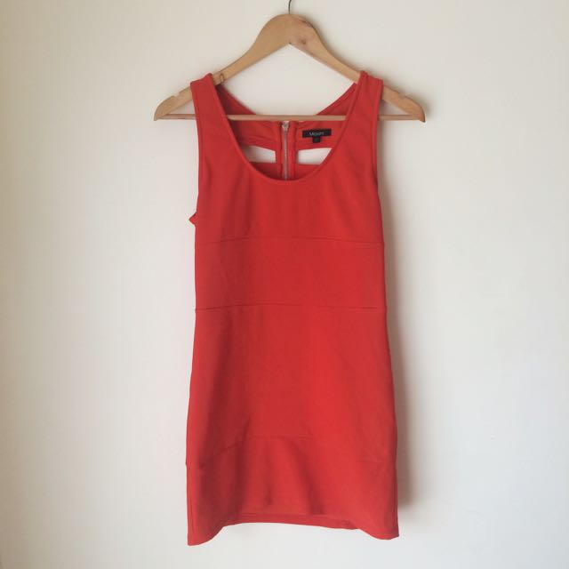 Maxim 'Orange Body Con with Back Cut Out'